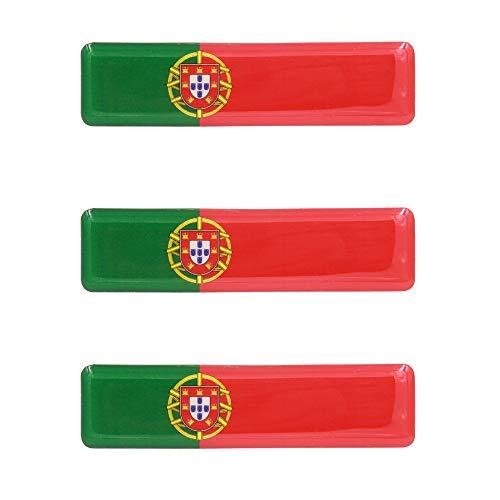 Portuguese Flag Resin Domed 3D Decal Car Sticker - Set of 3 (Resin Flag)
