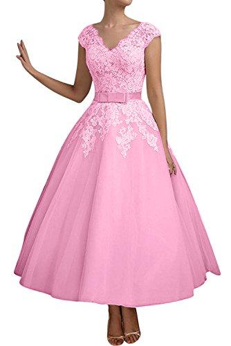 mujer para 42 Topkleider Vestido Rosa trapecio qEPwqtxR