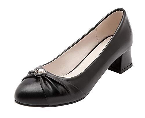 Tacón Aalardom Zapatos Negro tsmdh004603 Medio Cerrada De Puntera Tacón Mujeres PPwa0vqB