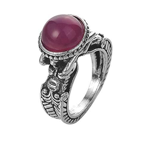 Londony◈ Retro Geometric Simulated Gemstone Ring Filled Huge Turquoise Ring Wedding Anniversary Ring Jewelry ()