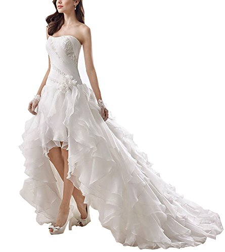 Kevins Bridal Strapless High Low Wedding Dresses 2017 Ruffled Pleat Wedding Gown White Size (Impression Bridal Wedding Dress)