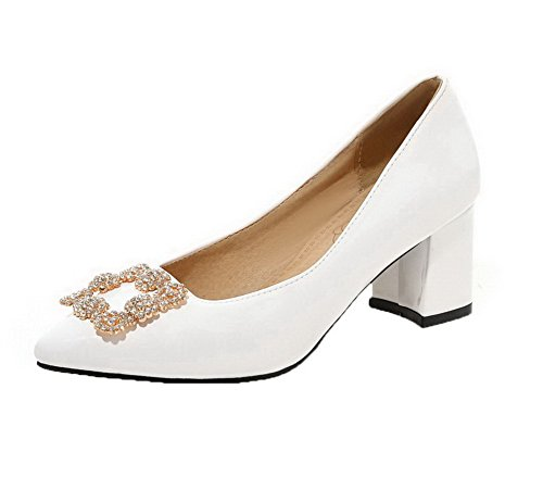 Légeres Tire Blanc Verni Fermeture Agoolar Mosaïque Chaussures D'orteil Femme xafFwX4nq0