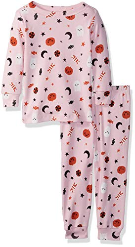 (Gymboree Baby Girls 2-Piece Tight Fit Sleeve Long Bottoms Pajama Set, Pink Halloween, 12-18)