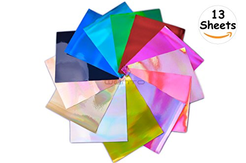 (WENTO 13 Sheets 8'' x 12''(20x30cm)Assorted Color Mirror Holographic Vinyl Sheets,Holographic Fabric For Sparkling decorations Patchwork Sewing DIY Craft)