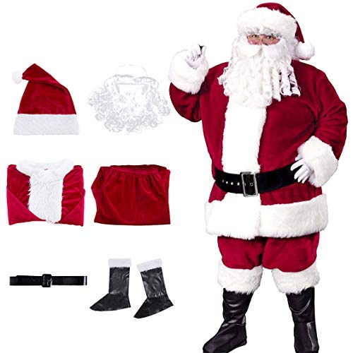 iphonepassteCK Santa Claus Costume Christmas Santa Suit Velvet Deluxe Santa Suits for Adults Santa Costume for Men ()