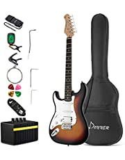 Donner DST-102 Solid Body 39 Inch Electric Guitar Kit, with Amplifier, Bag, Capo, Strap, String, Tuner, Cable, Picks