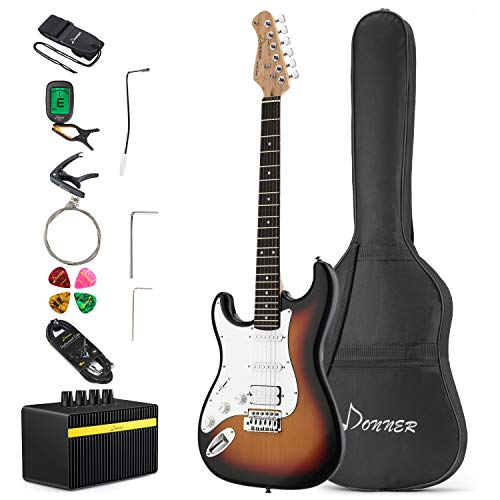Donner DST-1SL 39 Inch Electric Guitar Left Handed Full-Size Sunburst with Amplifier, Bag, Capo, Strap, String, Tuner, Cable and Pick