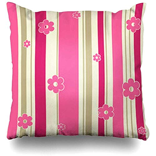 Throw Pillow Covers Beige Bright Abstract Strips Flowers Tile Pink Color Floral Graphic Pattern Pillowcase Square Cute 18 x 18 Inches Home Decor Cushion Cases