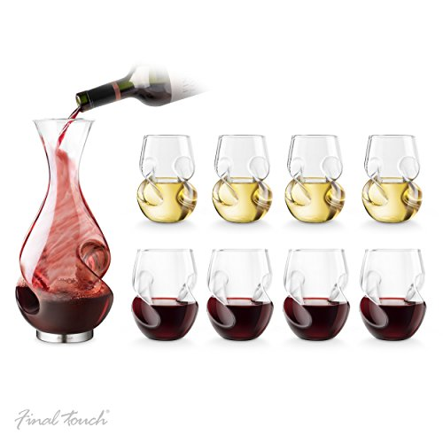 Final Touch L'Grand Conundrum Aerator Decanter Set, with Red & White Wine Glasses