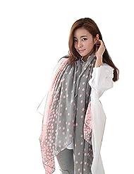 Jade Onlines Women's Pashmina Cashmere Silk Woolen Polka Dot Soft Scarf Wrap Shawl Pink