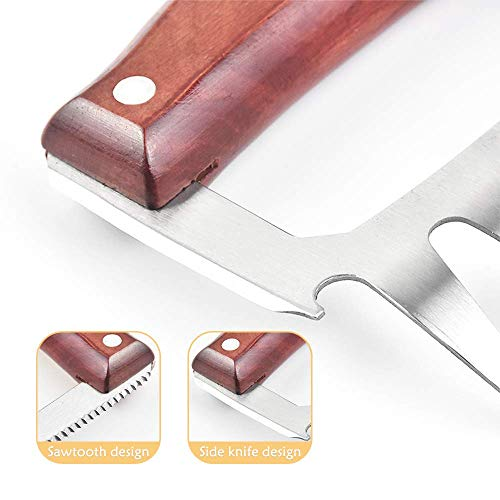 HT-direct Meat Claws,Meat Shredder Claws,Meat Saw,Bottle Opener,Heat Resistant Stainless Steel with Wooden Handle,Meat Claws for Shredding,Hanging,Use for Pork, Turkey, Chicken (2 Pcs)