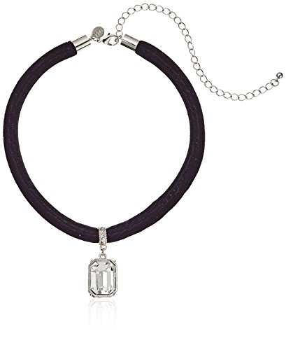 1928 Jewelry Black Velvet Choker with Swarovski Crystal Adjustable Pendant Necklace, 13 + 6 Extender