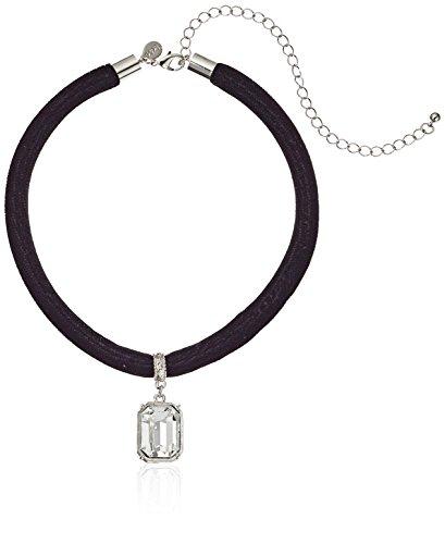 1928 Jewelry Black Velvet Choker with Swarovski Crystal Adjustable Pendant Necklace, 13 + 6 Extender