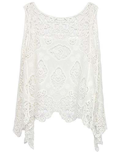 PUWEI Women's Open Front Crochet Bohemian Hippie Butterfly Vest Cardigan Coverup(White-One Size)