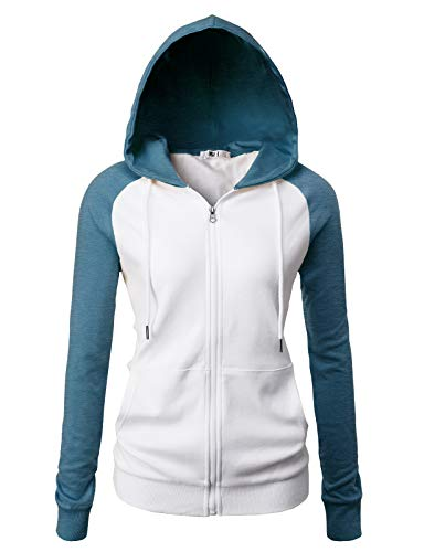 H2H Women's Sport Long Sleeve Zipup Hoodie WHITESTEELBLUE US XL/Asia XL ()