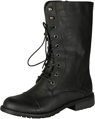 Nature Breeze Women Lug-11 Boots,Black Pu,10