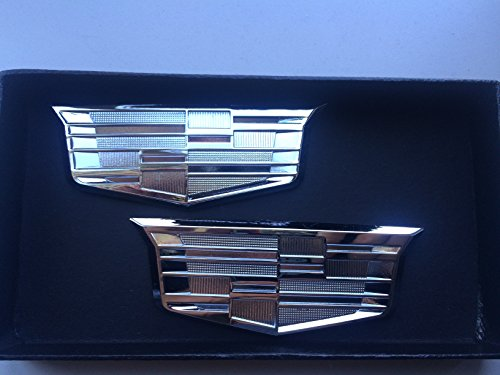 Exotic Store Brand New Pair of 2 Fit for Cadillac CTS SRX STS ATS XLR SLS CT6 Chrome Trunk Fender Emblem Badges