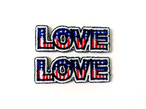 Tyga_Thai Brand Set 2 pcs. Mini Love American Flag Cute Logo Applique Embroidered Sew on Iron on Patch for Backpacks Jeans Jackets T-Shirt Clothing etc. (Iron-Love-USA-Flag)