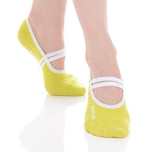 (Great Soles Ballet Grip Sock (Lime/White, Cotton))