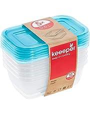 keeeper Vershoudbakjes, 5-delige set, 5 x 0,5 l, 15,5 x 10,5 x 6 cm, Fredo Fresh, doorzichting blauw