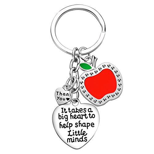 (Teacher Appreciation Gift It Takes A Big Heart to Help Shape Little Minds Heart Charms Keychain)