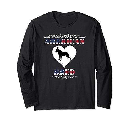 Boston Terrier TShirt American Flag Patriotic Dog Gift Tee Long Sleeve T-Shirt