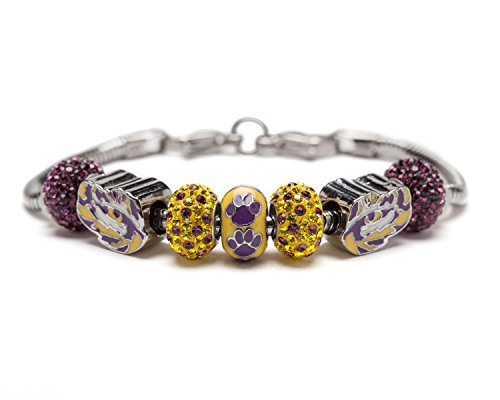 (Louisiana State University Charm | LSU Tigers - Bracelet with 3 Tigers Beads and 4 Crystal Charms | Officially Licensed Louisiana State University Jewelry | LSU Charms | Stainless Steel)