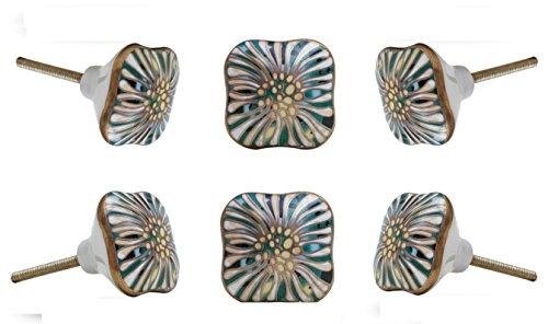 Set of 6 Salah Square Ceramic Cabinet Drawer Knob Cupboard Dresser Pull by Trinca Ferro