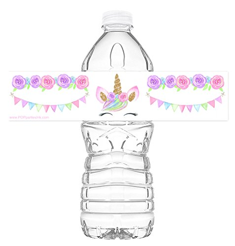 POP parties Magical Unicorn Lashes Bottle Wraps - Set of 20 Waterproof Bottle Labels - Unicorn Water Bottle Labels - Unicorn Rainbow Decorations - Made in the USA - ()