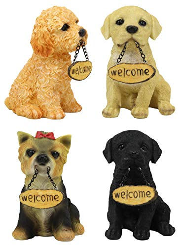 (Ebros Gift Set of 4 Dogs Realistic Poodle Fawn and Black Labrador and Yorkshire Terrier Puppies Figurines with Greeting Signs As Welcome Home Decor Pet Pals Dog Sculpture 6.25
