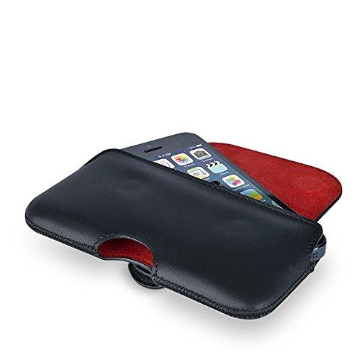 Beyzacases Étui en cuir véritable Crochet Étui pour Apple iPhone 6Plus/6S Plus–Noir