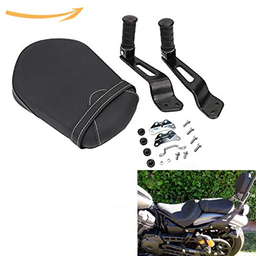 Jade Onlines Motorcycle Detachable Passenger Seat Pad with Foot Peg Mount Kit for Yamaha Bolt XVS950 1TP-F47E0-T0-00 Black - Kit Mount Seat