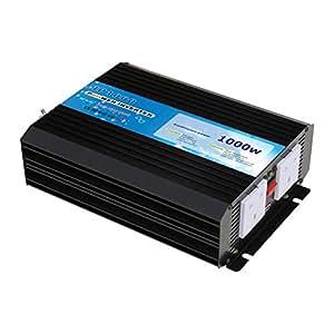 Inversor de potencia AC onda sinusoidal pura 1000W de Batería de 12V a 240V Electricidad de Red (Potencia máxima 2000W)