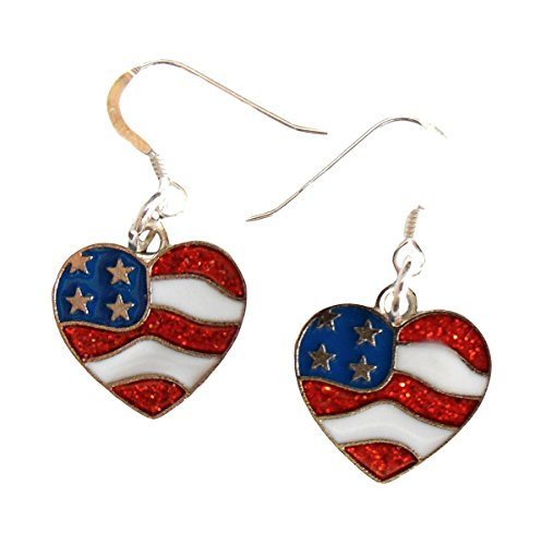 - Charmed By Dragons Patriotic American Flag Heart Earrings .925 Sterling Silver Earwire IN GIFT BOX