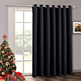 100 inch Extra Wide Curtain - Temporary Portable Sliding Glass Door Curtains Heavy Duty, Sunlight Block Insulated Large Window Decor Drapes for Bedroom Home Office Theater Backdrop, 100 x 84, Black