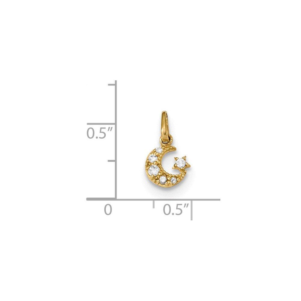 Mia Diamonds 14k Yellow Gold Childrens CZ Star and Moon Pendant