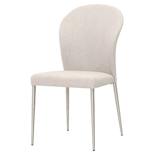 Tatin Fabric and Stainless Steel Dining Chair - Set of 2, Cement