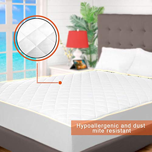 Cooling Mattress Topper Twin Xl Quilted Fitted Mattress Pad Hypoallergenic Down Alternative Fiberfill Stretch to Fit All Mattresses from 6 to 15 Deep a Fully Elasticized Deep Fitted Skirt Microfiber by Indipartex (Image #2)
