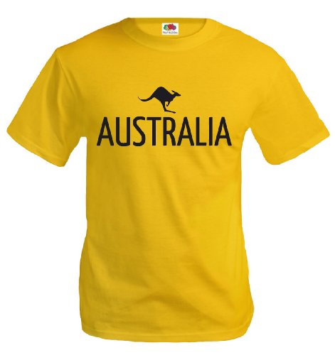 T-Shirt Australia-Kangaroo-L-Yellow-Black