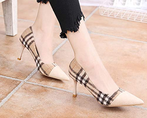 jigsaw shallow high thin mouth Pointcuts LBTSQ heels shoes lattice 7cm Thirty fashion heels coloring eight qR1PA4nxRw