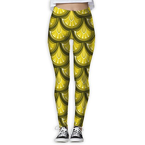 756fa80f78 Womens Gold Shiny River Fish Scales New Fashion Workout Leggings Comfort  Waist Yoga Workout Legging Pants