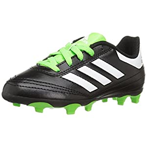 adidas Performance Kids' Goletto VI J Firm Ground Soccer Cleats, Black/White/SGreen, 12 Medium US Little Kid