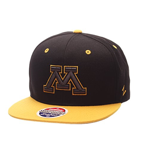 NCAA Minnesota Golden Gophers Adult Men's Z11 Phantom Snapback Hat, Adjustable Size, Black/Team - Gophers Golden Wool Minnesota