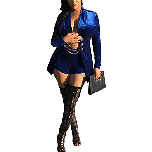 Kafiloe Womens Two Piece Outfits Suit Set Sexy Velvet Slim Fit Blazer Jacket and Shorts Blue XL (2 Jacket Club)