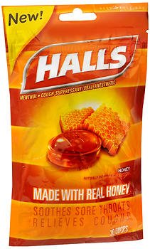 - Halls Cough Suppressant/Oral Anesthetic Drops Honey - 30 ct, Pack of 3