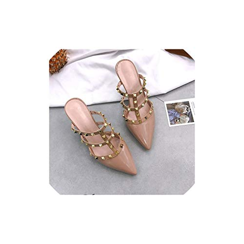 Summer High Heels Mules Slippers Ladies Pointed to Sexy Rivets Outside Shoes Woman Sandals,Pink,39