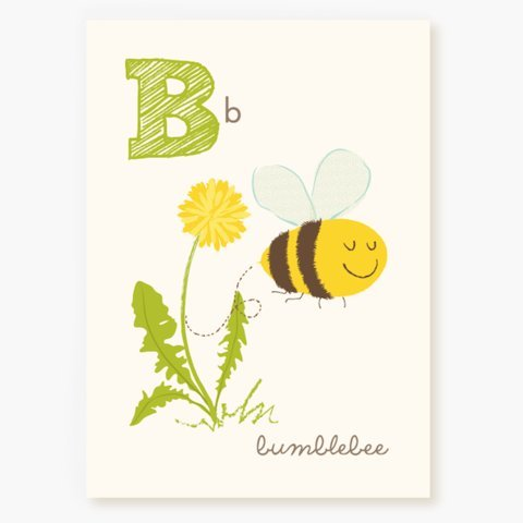 Sea Urchin Studio ABC Wall Art for Kids, B/Bumblebee