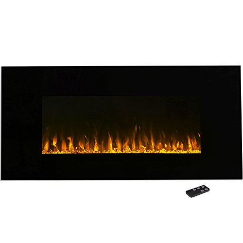 Electric Fireplace Wall Mounted, LED Fire and Ice Flame, With Remote 42 inch image