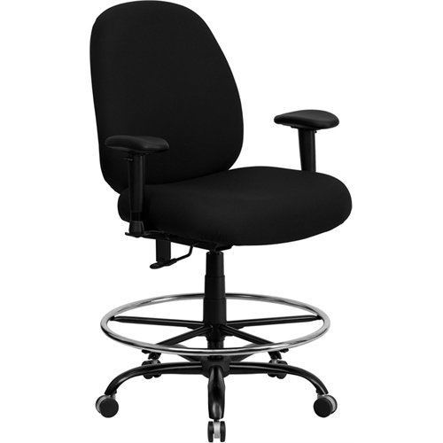 Flash Furniture HERCULES Series Big & Tall 400 lb. Rated Black Fabric Ergonomic Drafting Chair with Adjustable Back Height and Arms by Flash Furniture