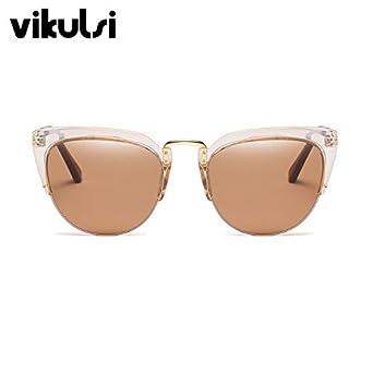 a5ed385287 D250 tea tea   Cool Trendy Half Frame Rimless Cat Eye Sunglasses Women 2018  Fashion Brand Designer Sun glasses For Female Clear Eyewear Oculos   Amazon.in  ...